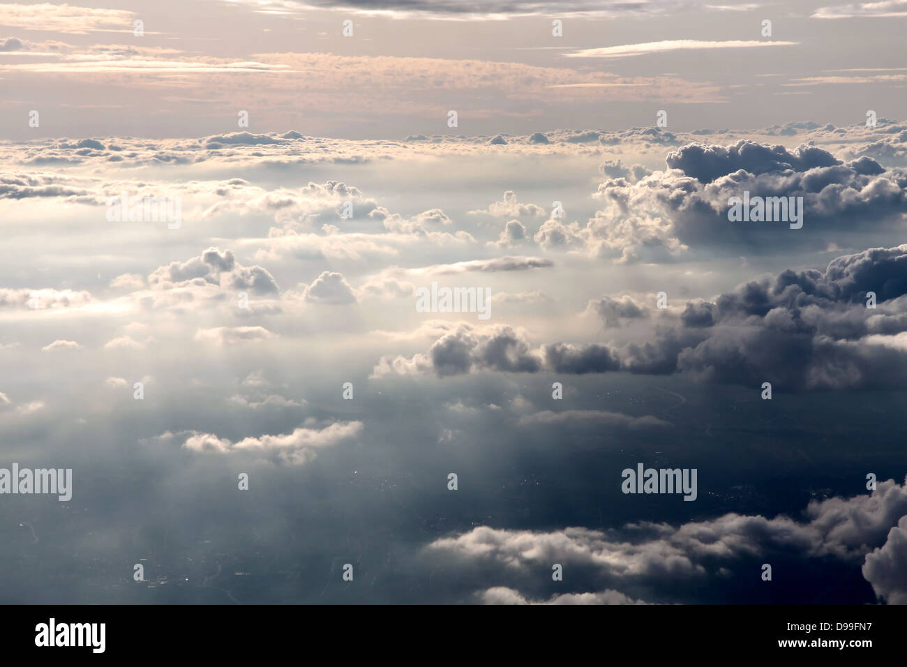 aerial photography of clouds in the evening - Stock Image