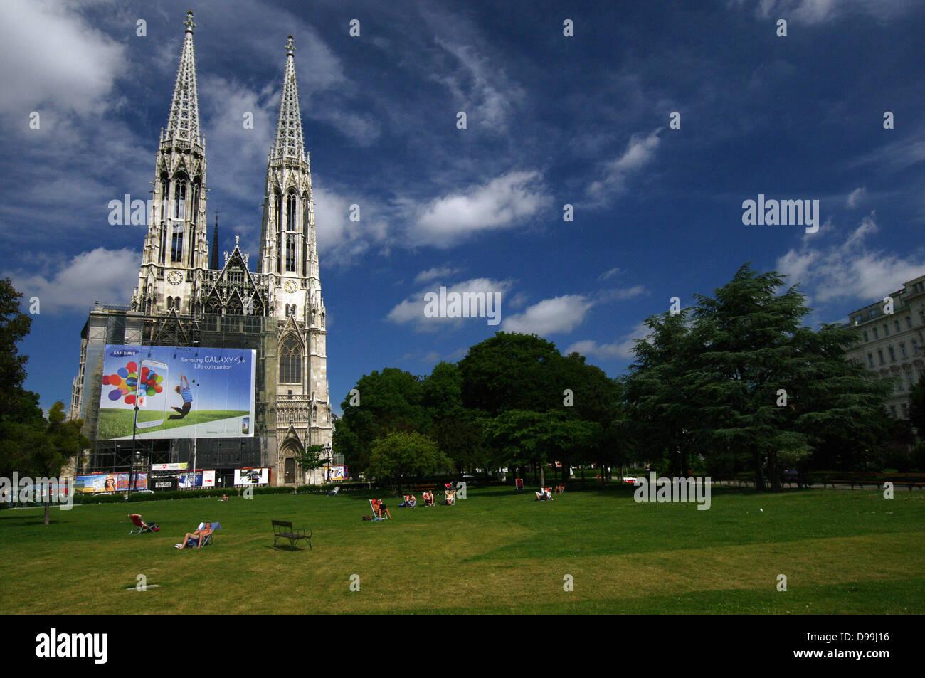 Sigmund Freud Park & Votive Church - Vienna, Austria Stock Photo