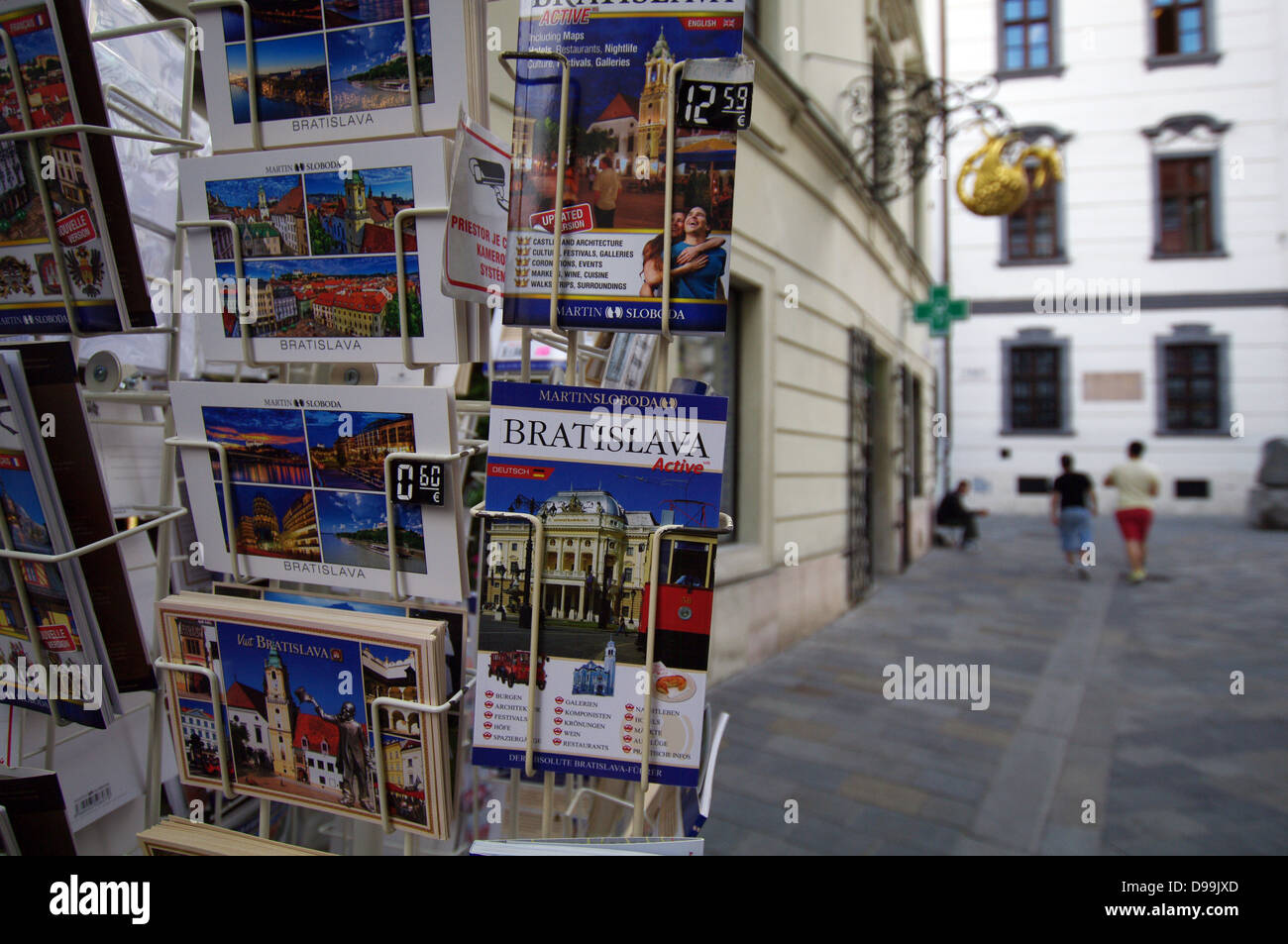 Guidebooks and postcards - Old Town of Bratislava, Slovakia - Stock Image