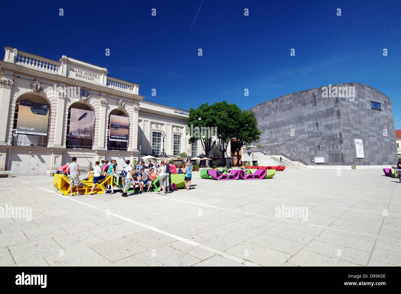 Kunsthalle Wien on the left and mumok (MUseum MOderner Kunst - Museum of Modern Art) on the right - Vienna, Austria - Stock Image