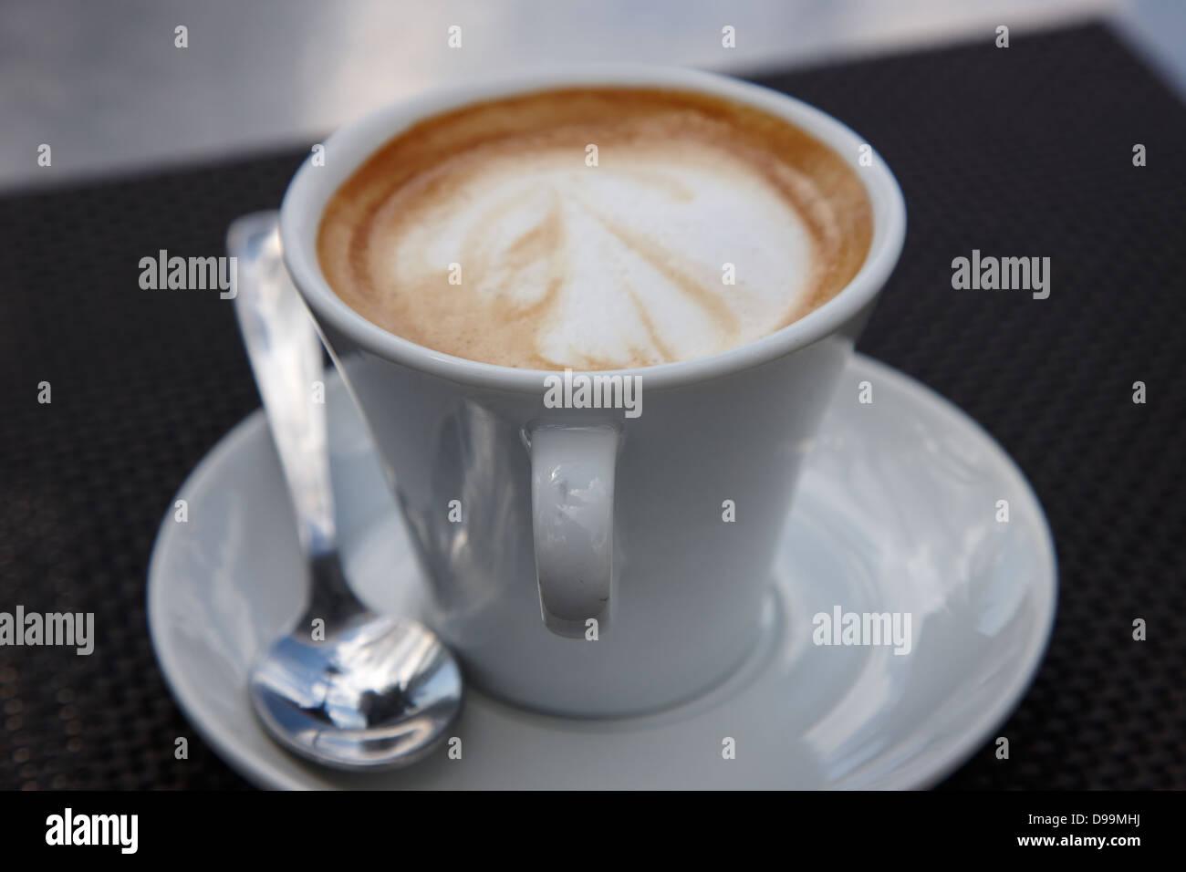 cafe con leche milky coffee barcelona catalonia spain - Stock Image