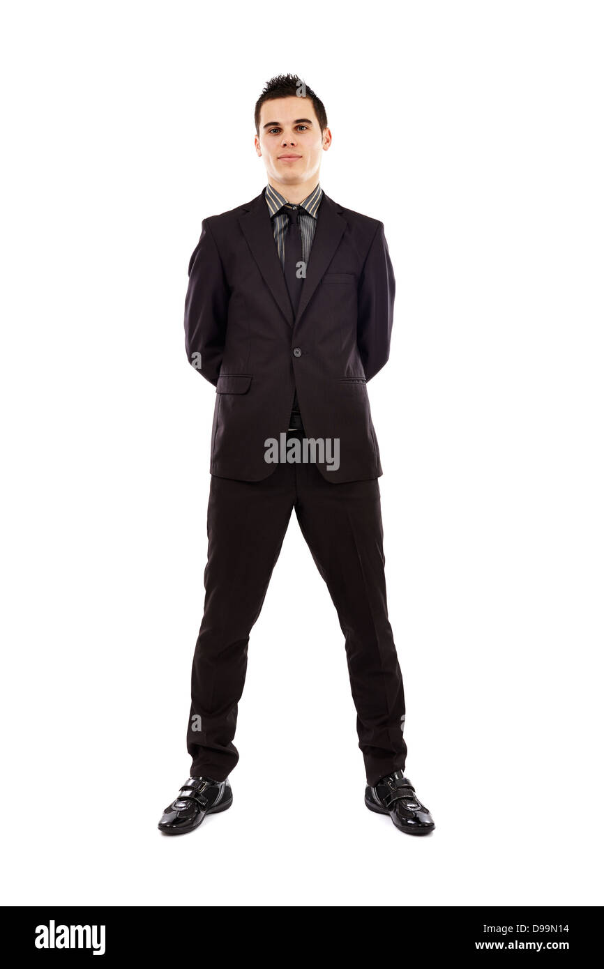 Full length pose of handsome businessman isolated on white background. Business concept - Stock Image
