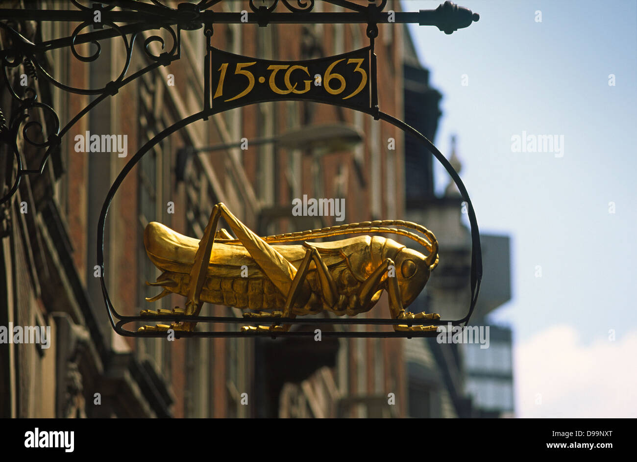 Sir Thomas Gresham's grasshopper motif in Lombard Street in the city of London - Stock Image