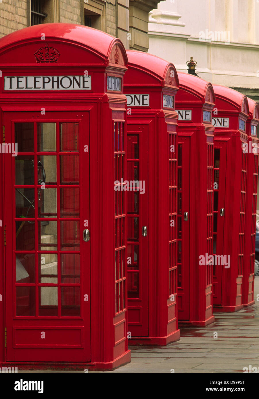 Group of traditional K2 telephone boxes designed by Sir Giles Gilbert Scott, on Broad Street, Covent Garden in London - Stock Image