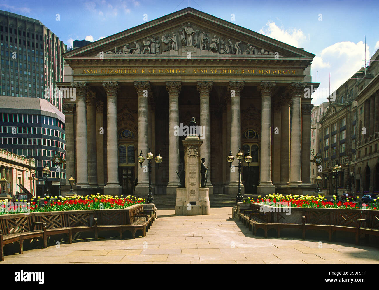 Classical facade of the Royal Exchange in the City of London designed by William Tite - Stock Image