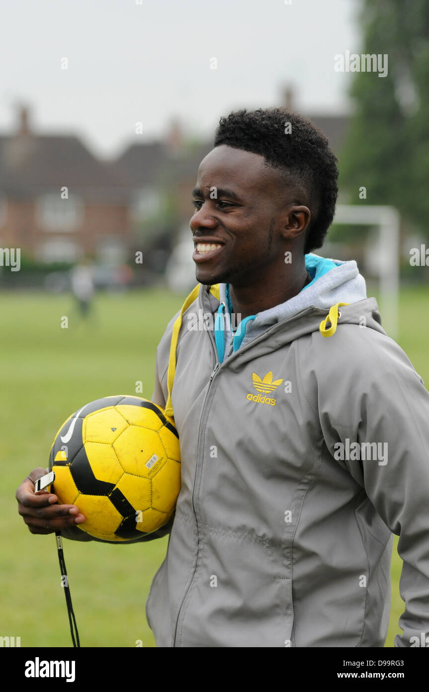 Gael Bigirimana, Burundi born football player training in Coventry with Burundi born amateur players. Stock Photo