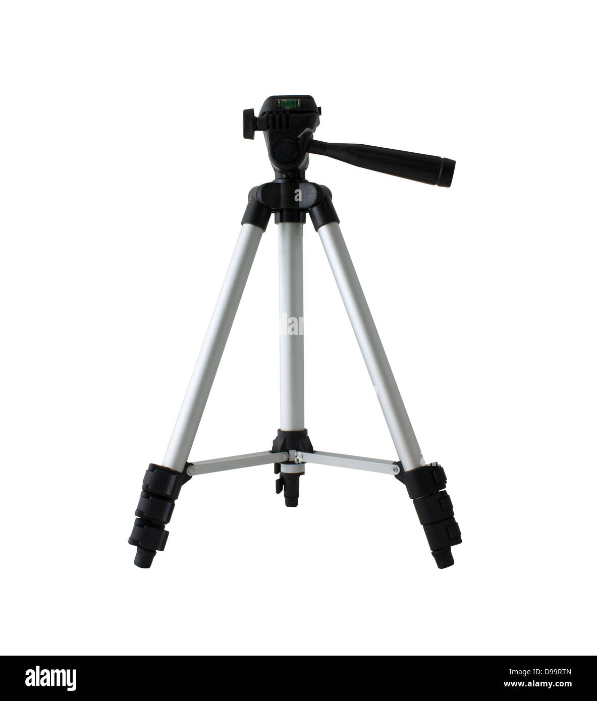 Back side of Small tripod camera isolated on white background. - Stock Image