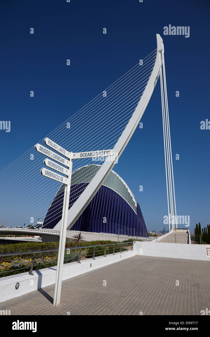 direction signs at city of arts and sciences ciutat de les arts i les ciencies valencia spain - Stock Image