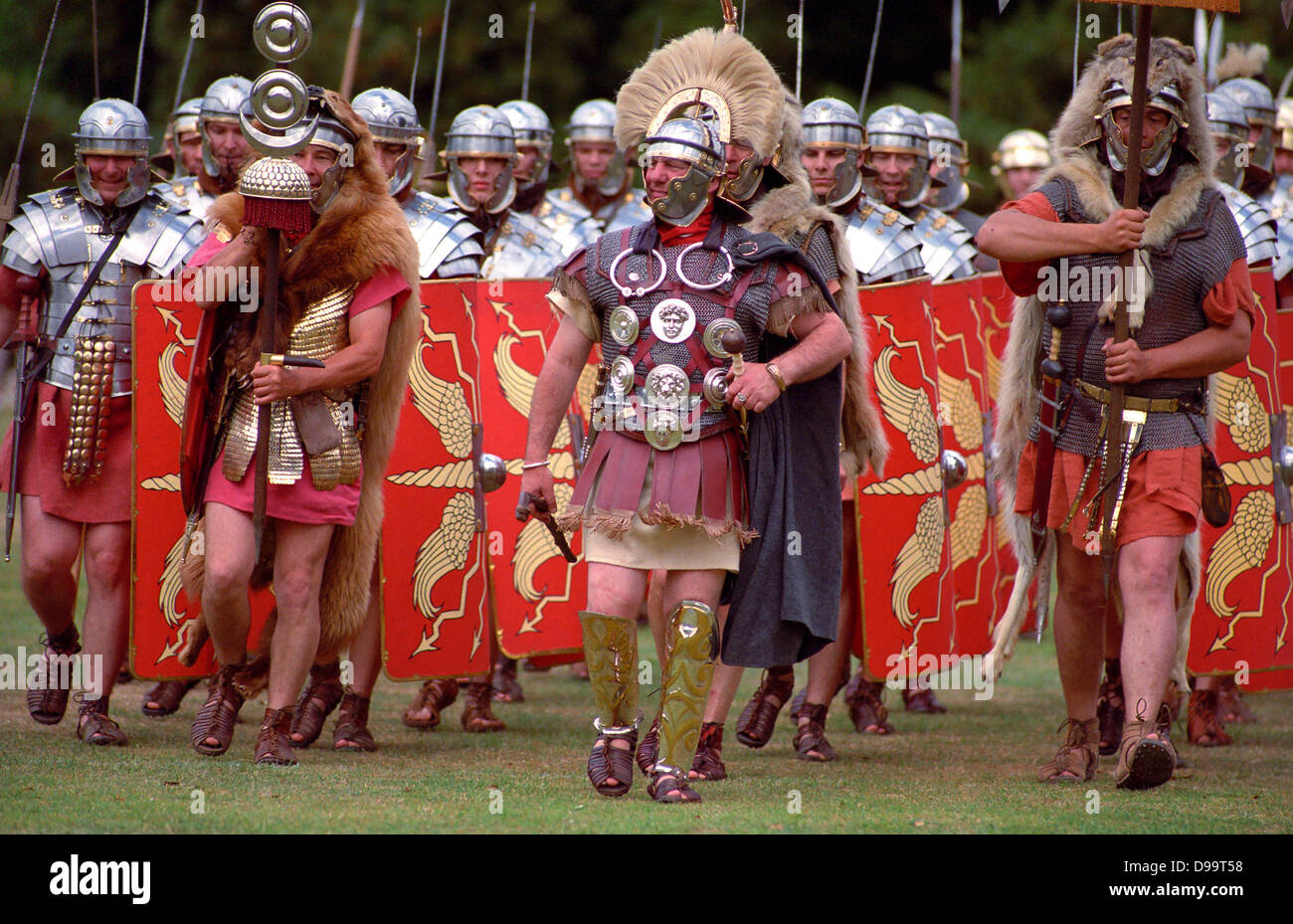 Roman legionaires at a re-enactment in Devon, UK. - Stock Image