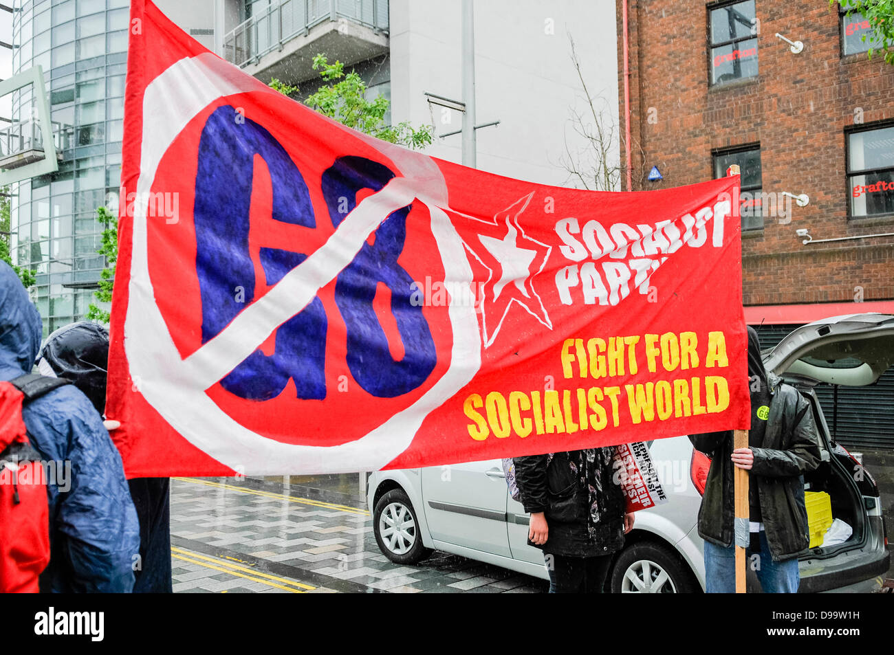 Belfast, Northern Ireland. 15th June 2013. Socialist Party banner at an anti-G8 protest organised by the Irish Congress - Stock Image