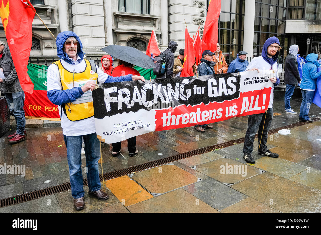 Belfast, Northern Ireland. 15th June 2013. Protesters call for an end to fracking at an anti-G8 protest organised - Stock Image