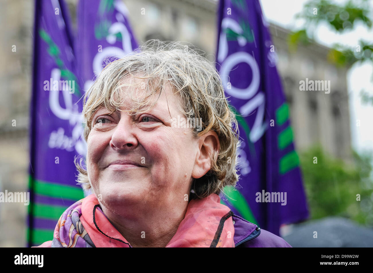 Belfast, Northern Ireland. 15th June 2013. Patricia McKeown from the Irish Congress of Trade Unions (ICTU) was said - Stock Image