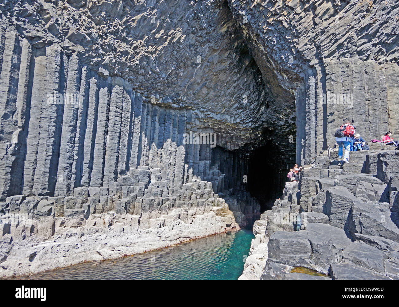 View inside Fingal's Cave on the Island of Staffa Inner Hebrides Scotland - Stock Image