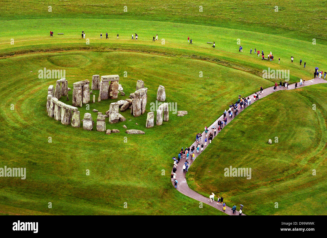 Aerial view of Stonehenge in Wiltshire. - Stock Image
