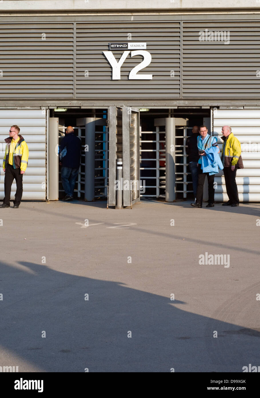 Turnstiles at the Etihad Stadium, home of Manchester City Football Club  in the English Premier League Stock Photo