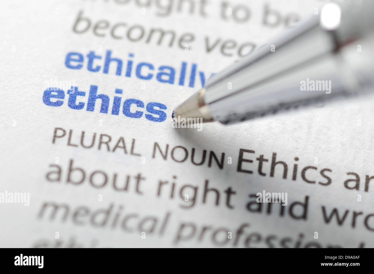 Ethics - Dictionary Series - Stock Image