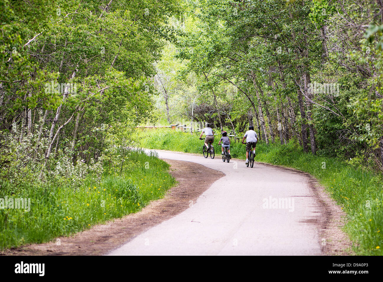 Family, values, bike, biking, path, pathway, bike path, summer, happy - Stock Image