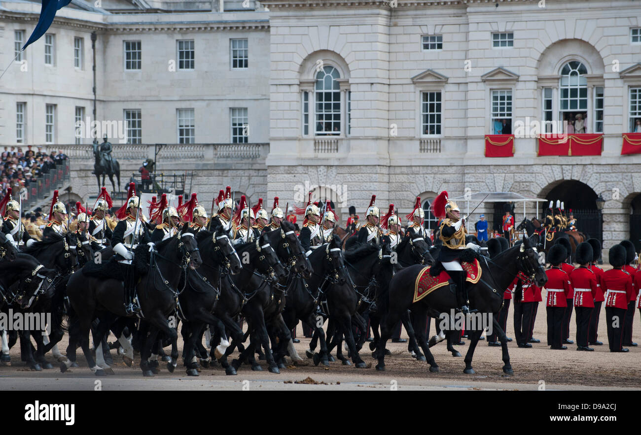 London, UK. 15th June, 2013. Trooping the Colour. The Blues and Royals part of the household Cavalry go past The - Stock Image