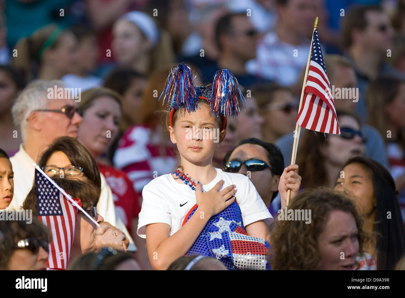 Foxborough, Massachusetts, United States. 15th June, 2013. A USA fan during the National Anthem prior to the international - Stock Image