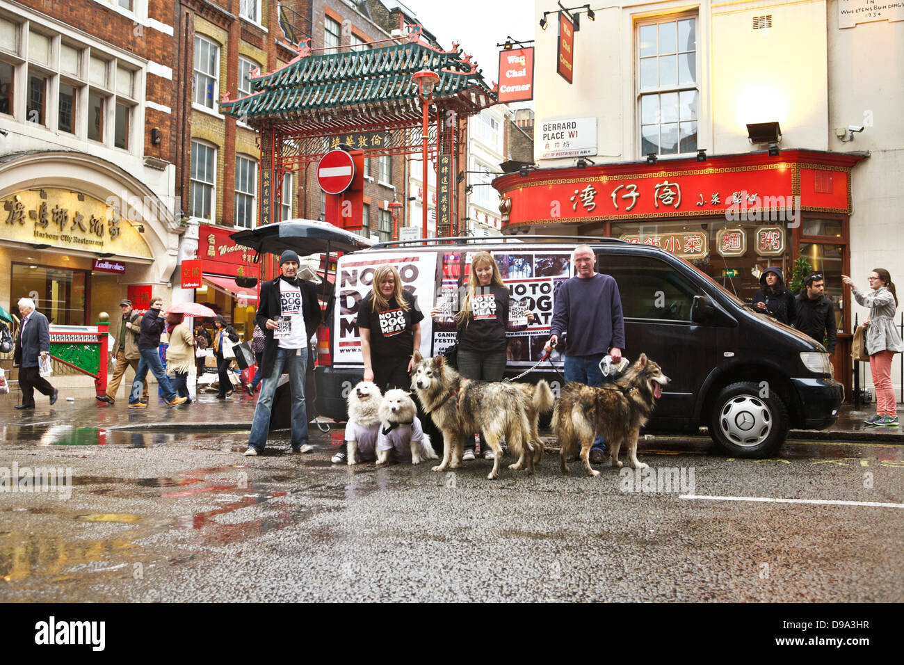 China Town, London, UK, 15th June 2013.  A group of people campaigning to raise awareness of the dog meat trade - Stock Image