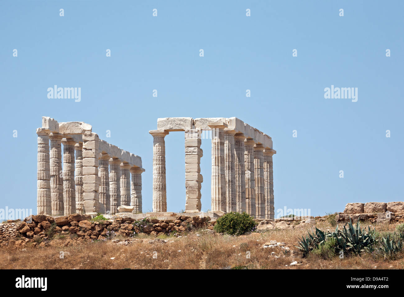 Temple of Poseidon, an ancient Greek religious sanctuary built  at the tip of the Attica peninsula from locally - Stock Image