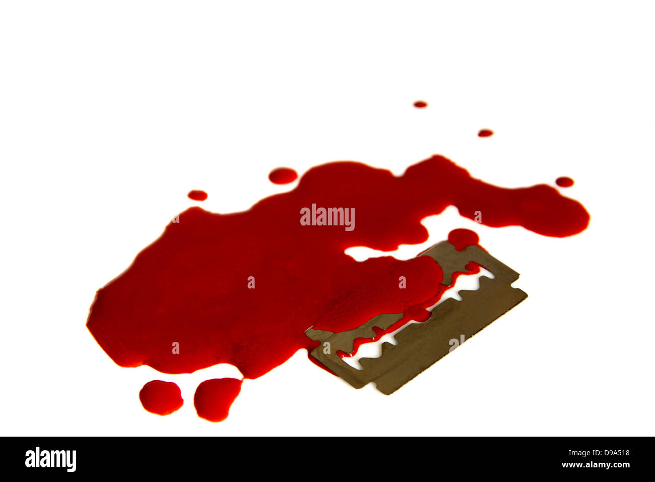 blood white steel blade isolated murder stain sharp - Stock Image