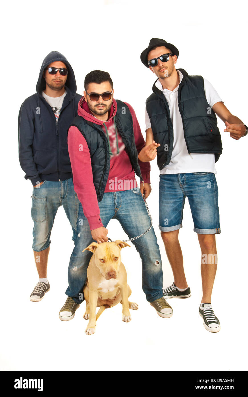 dab04db0b8d7 Three rappers guys with sunglasses and pitbull dog isolated on white  background