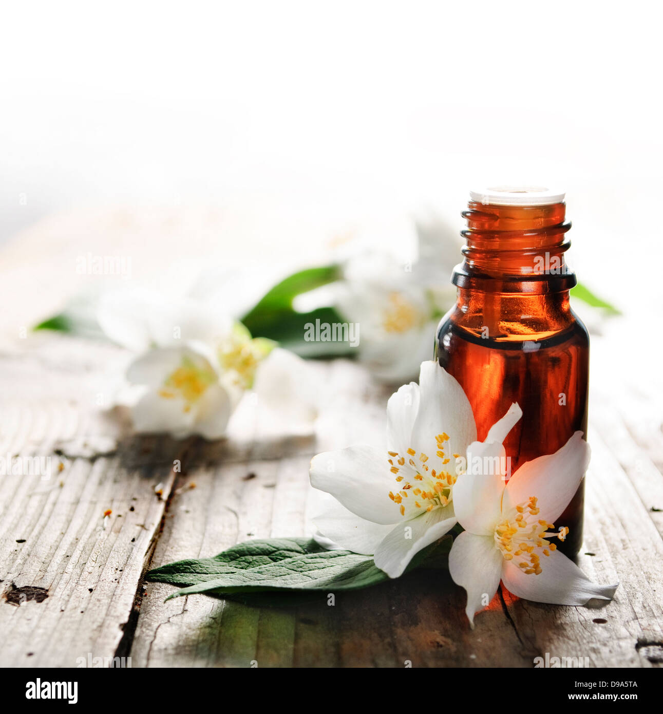 Essential Oil With Jasmine Flower On Wooden Plank Stock Photo