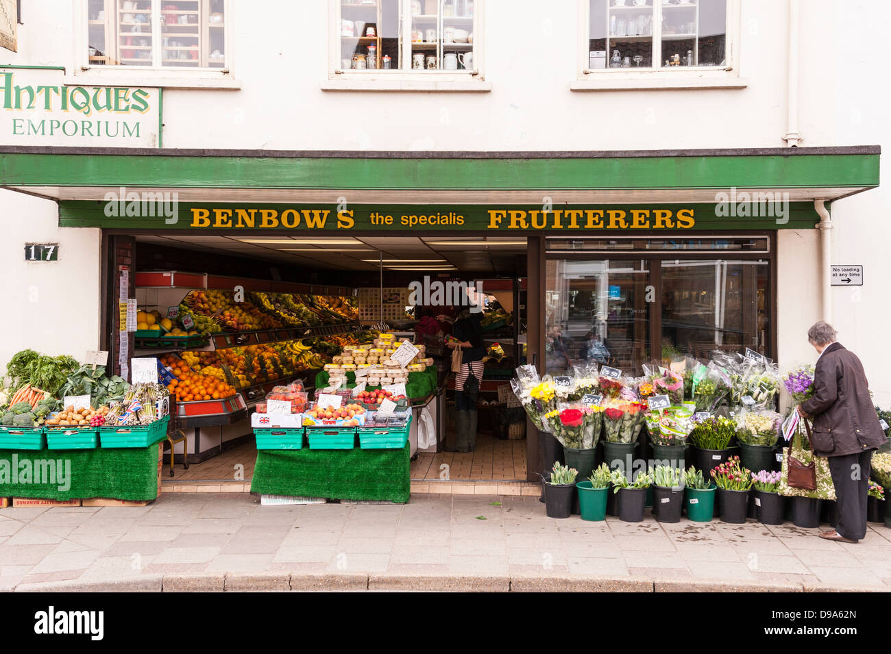 The Benbows Fruiterers greengrocers shop store in Holt , Norfolk , England , Britain , Uk - Stock Image