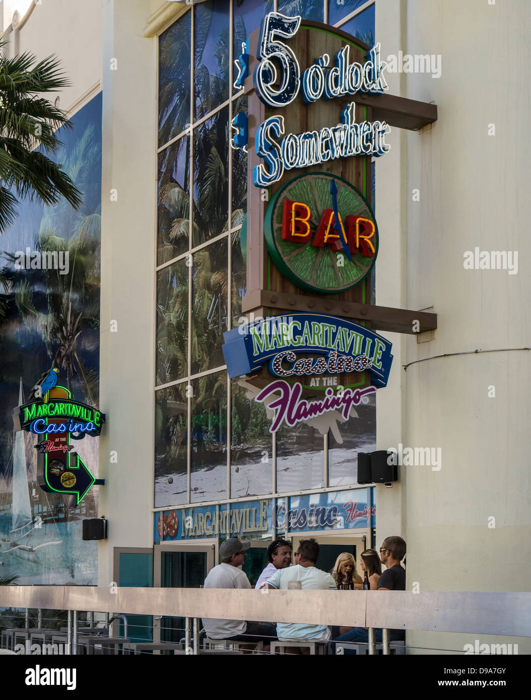 fc0e8402851 5 O Clock Somewhere Bar outside Flamingo Casino - Stock Image