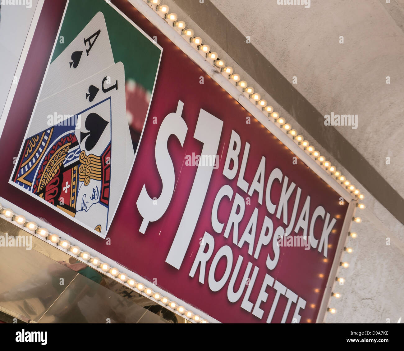 Sign advertising Blackjack Craps Roulette in Las vegas - Stock Image
