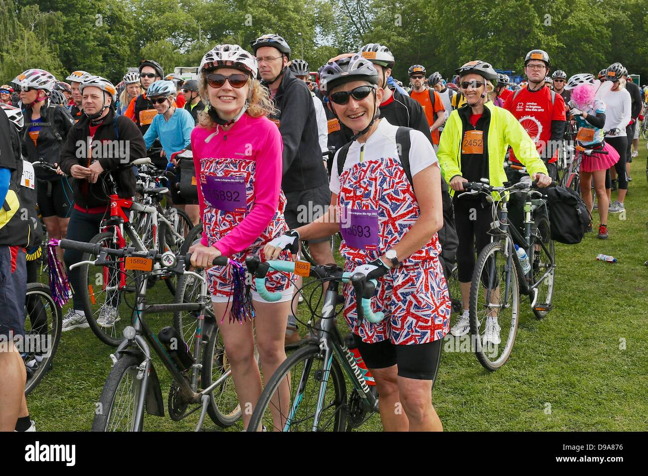 Clapham Common, London UK. 16 June 2013. Cyclists line up for the staged start of the British Heart Foundation London - Stock Image