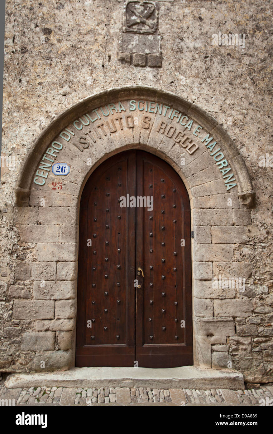 Entrance of the Institute S Rocco in Erice, Sicily. - Stock Image