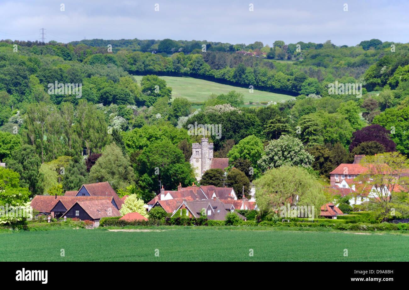 Bucks - Chiltern Hills - landscape Little Missenden village - church tower -cottages - trees - fields - summer sunlight - Stock Image