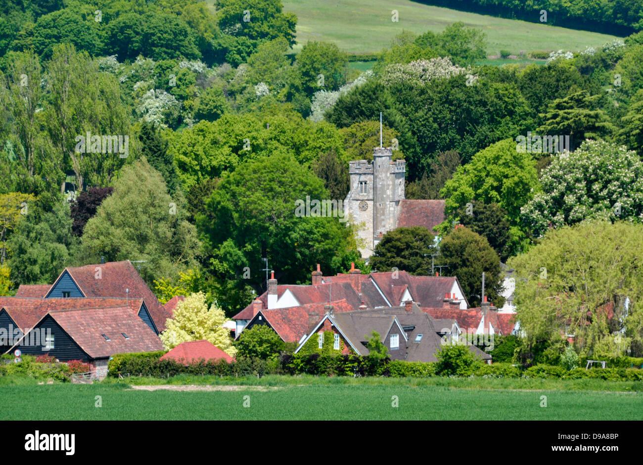 Bucks - Chiltern Hills - landscape - Little Missenden village - church tower - cottages - russet rooftops - wooded - Stock Image