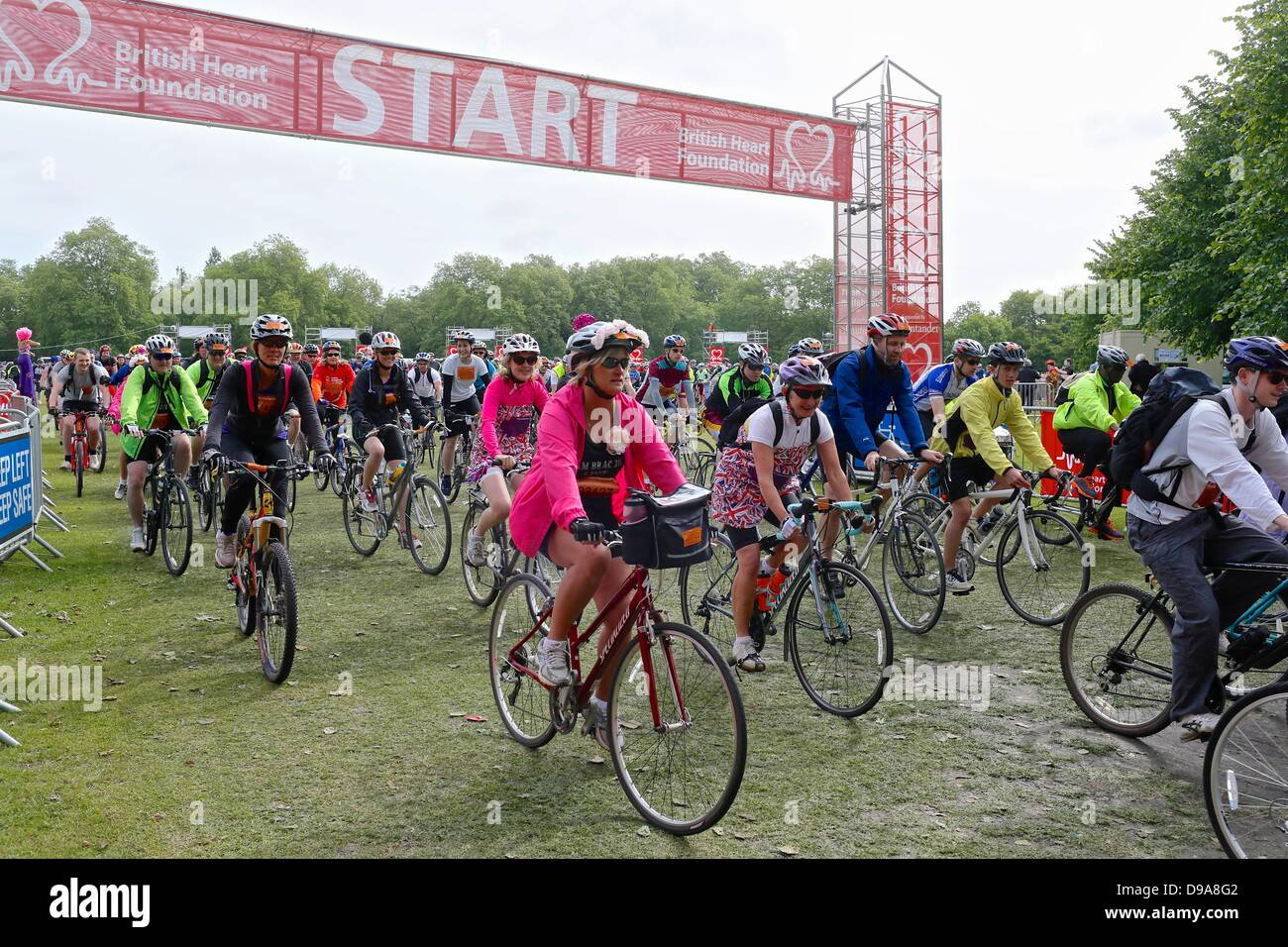 Clapham Common, London UK. 16 June 2013. Cyclists at the staged start of the British Heart Foundation Bike Ride. Stock Photo