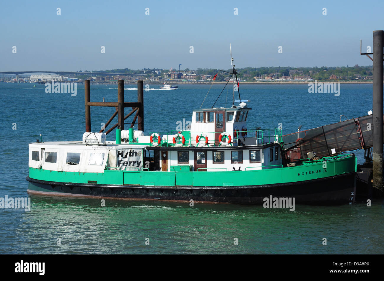 Hythe Ferry 'Hotspur 1V' for Southampton at Hythe pier head, Hampshire, England, UK - Stock Image