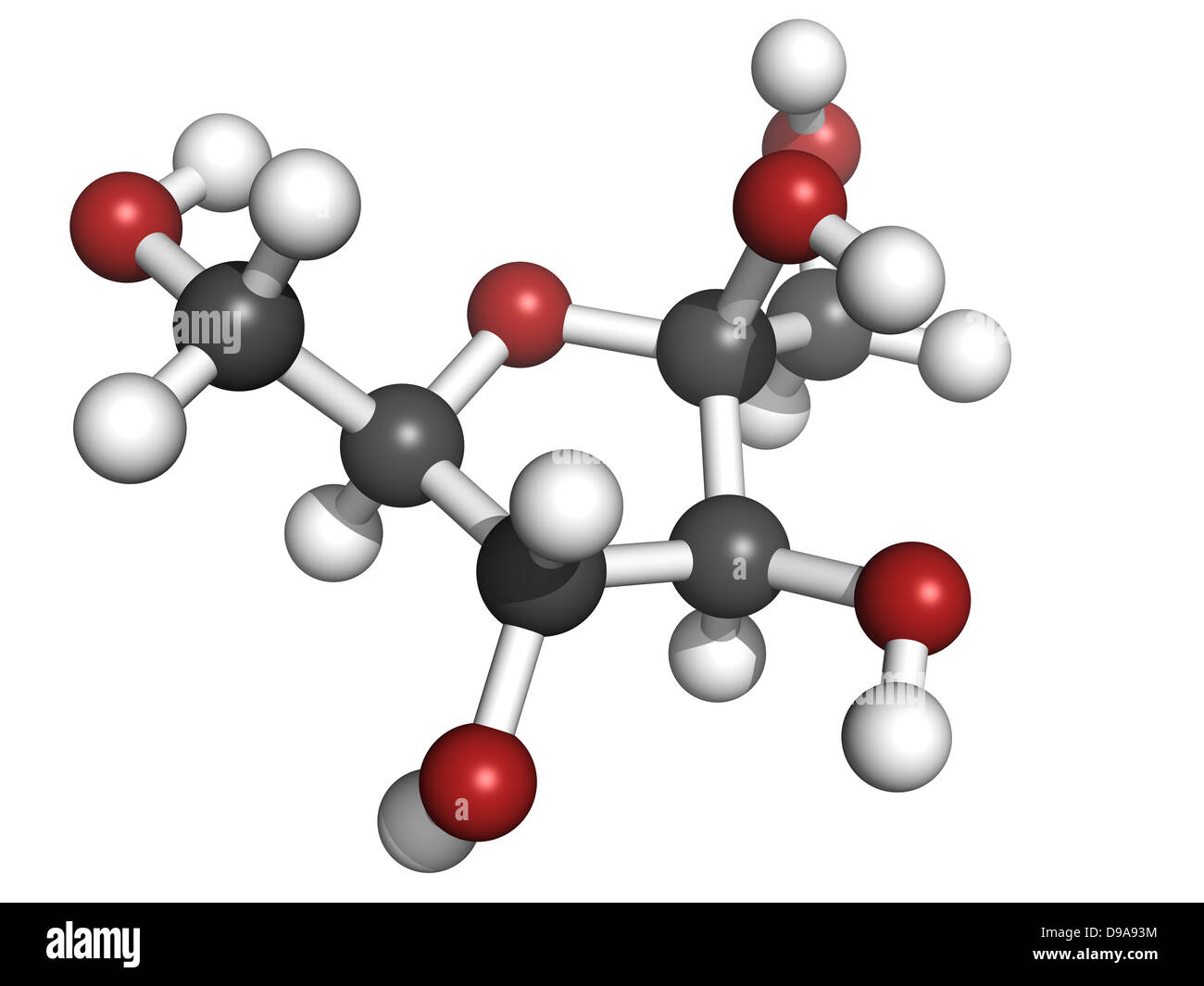 fructose fruit sugar molecule chemical structure atoms are represented as spheres with conventional color coding