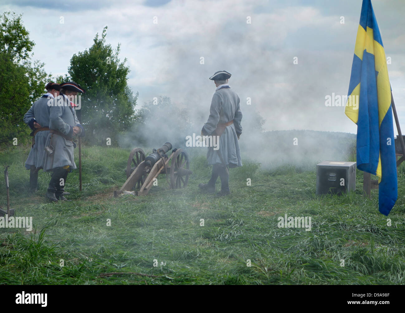 Swedish (Karoliner) Caroleans artillery soldiers (from ca 1660 to ca 1720) - Stock Image