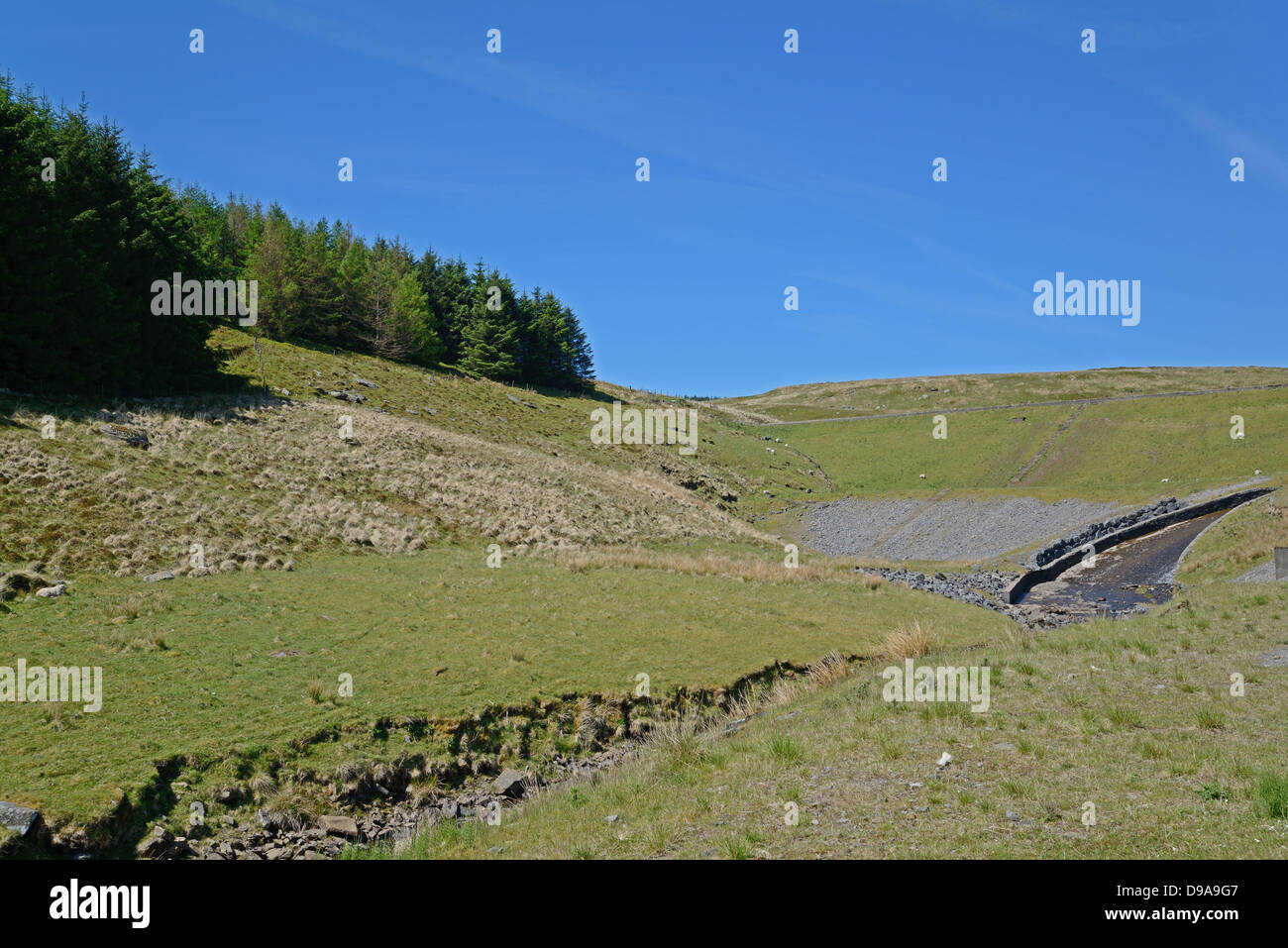 Reservoir spillway and stream on the edge of a forest. - Stock Image