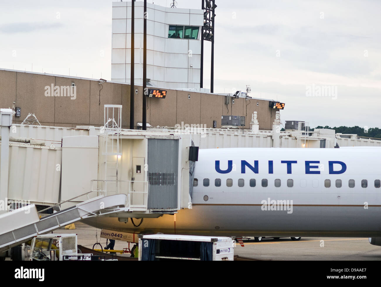 A United Airlines aircraft sits at a gate at George Bush International (IAH) Airport in Houston, Texas, prior to - Stock Image