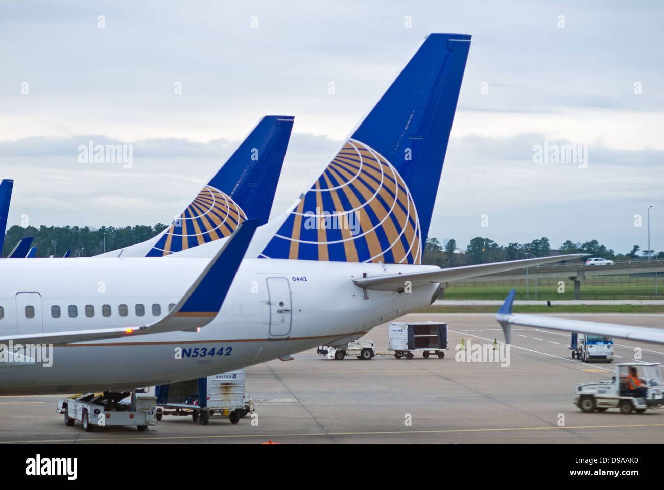 Houston, Texas, USA - February 1, 2013: United Airlines aircraft parked at a gate at George Bush International (IAH) - Stock Image