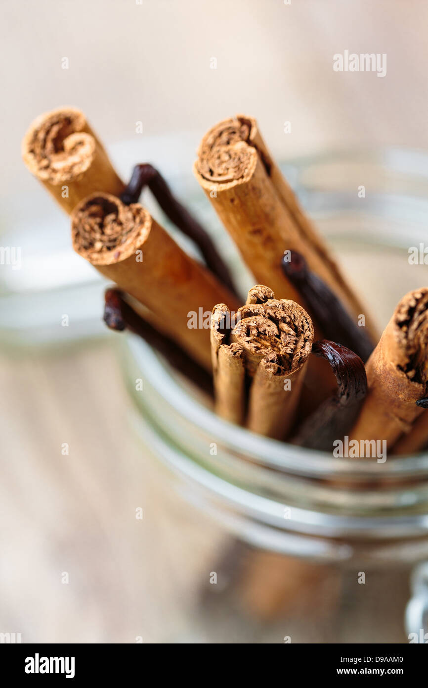 Cinnamon and vanilla sticks in a glass container - Stock Image