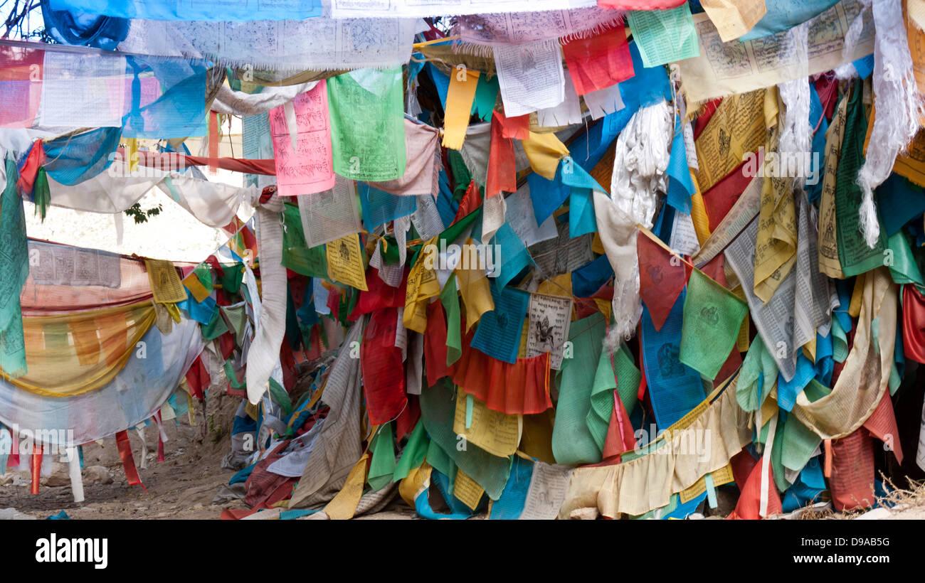 Tibetan Prayer Mani Flags Stock Photos Tibetan Prayer Mani Flags