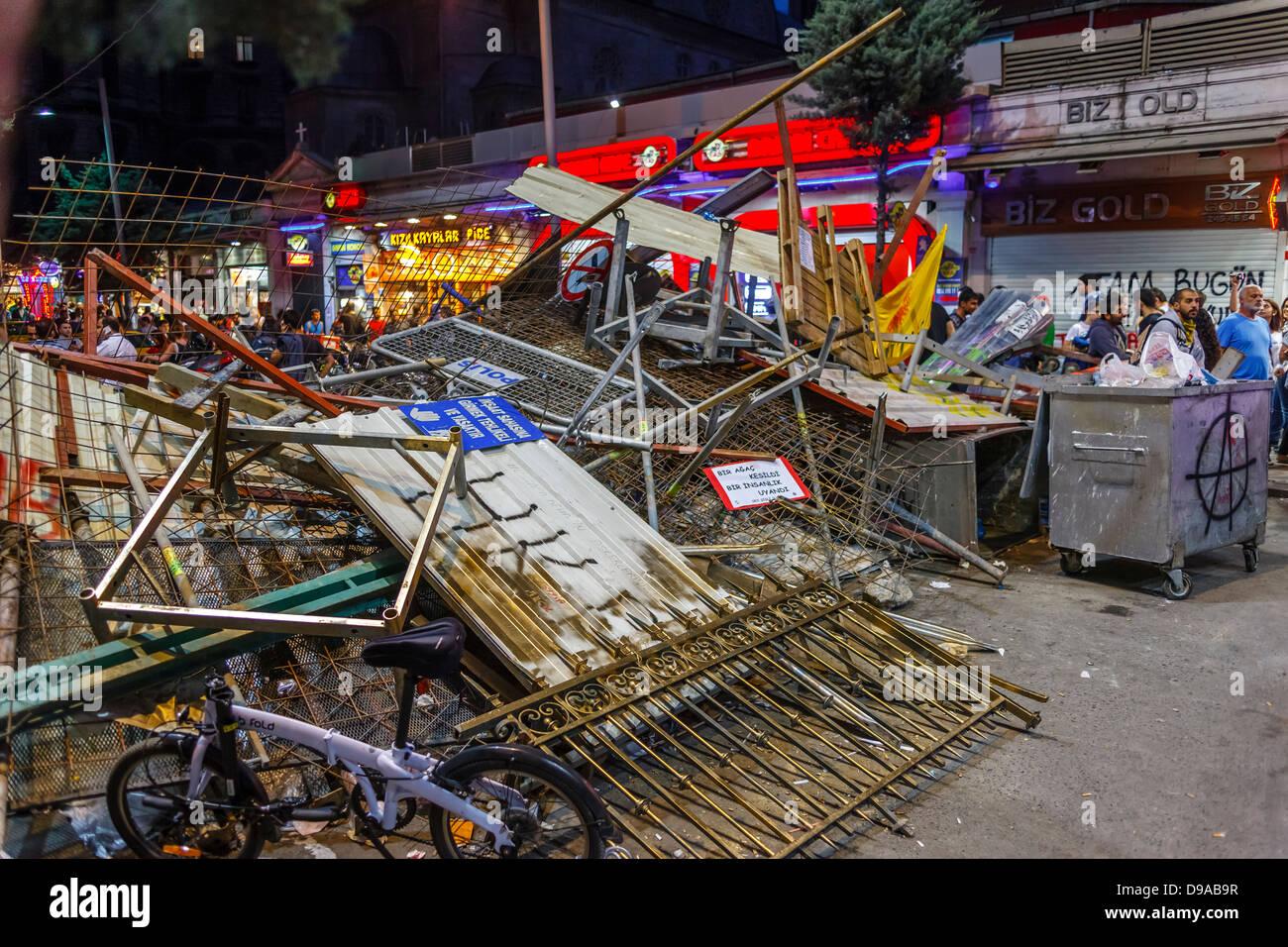 Barricade during Taksim Gezi Park protests, Istanbul, Turkey - Stock Image