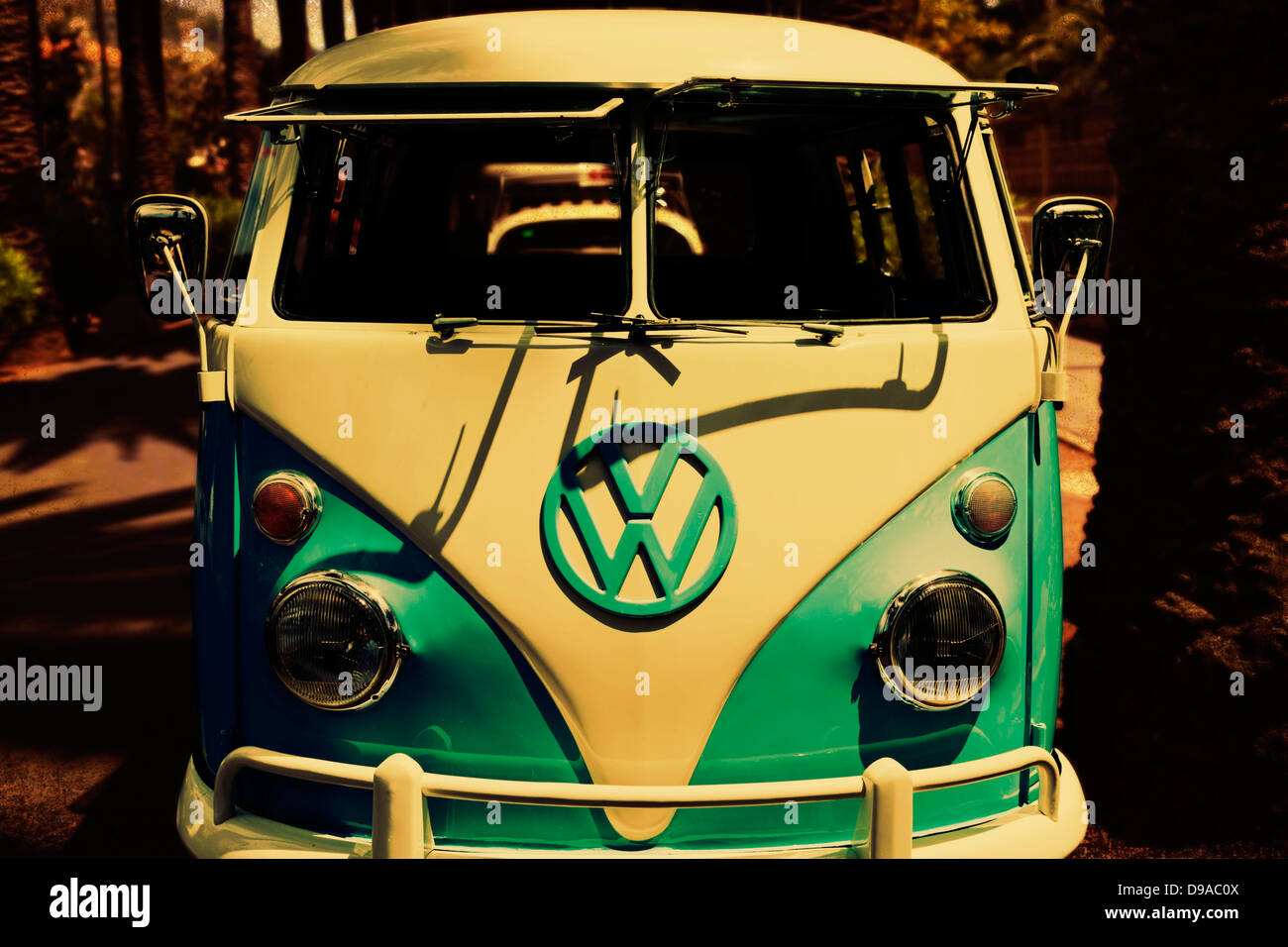 Front Of Old 1960 S Vw Campervan Colour Manipulated Stock Photo Alamy