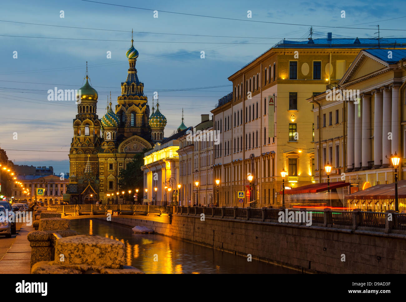 Church of Our Savior on Spilled Blood, St. Petersburg, Russia at night - Stock Image