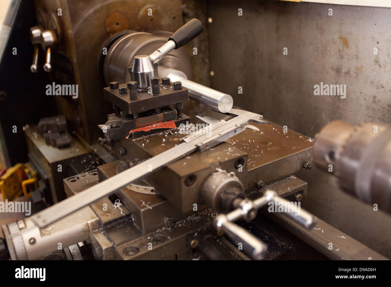 industrial lathe machine and vernier - Stock Image