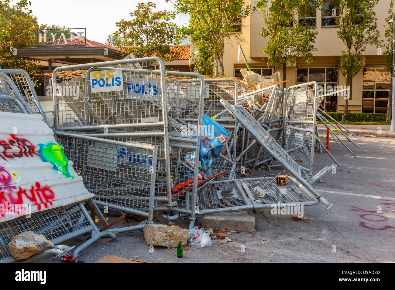 Barricade in front of the Hyatt Regency Hotel during Taksim Gezi Park protests, Istanbul, Turkey - Stock Image