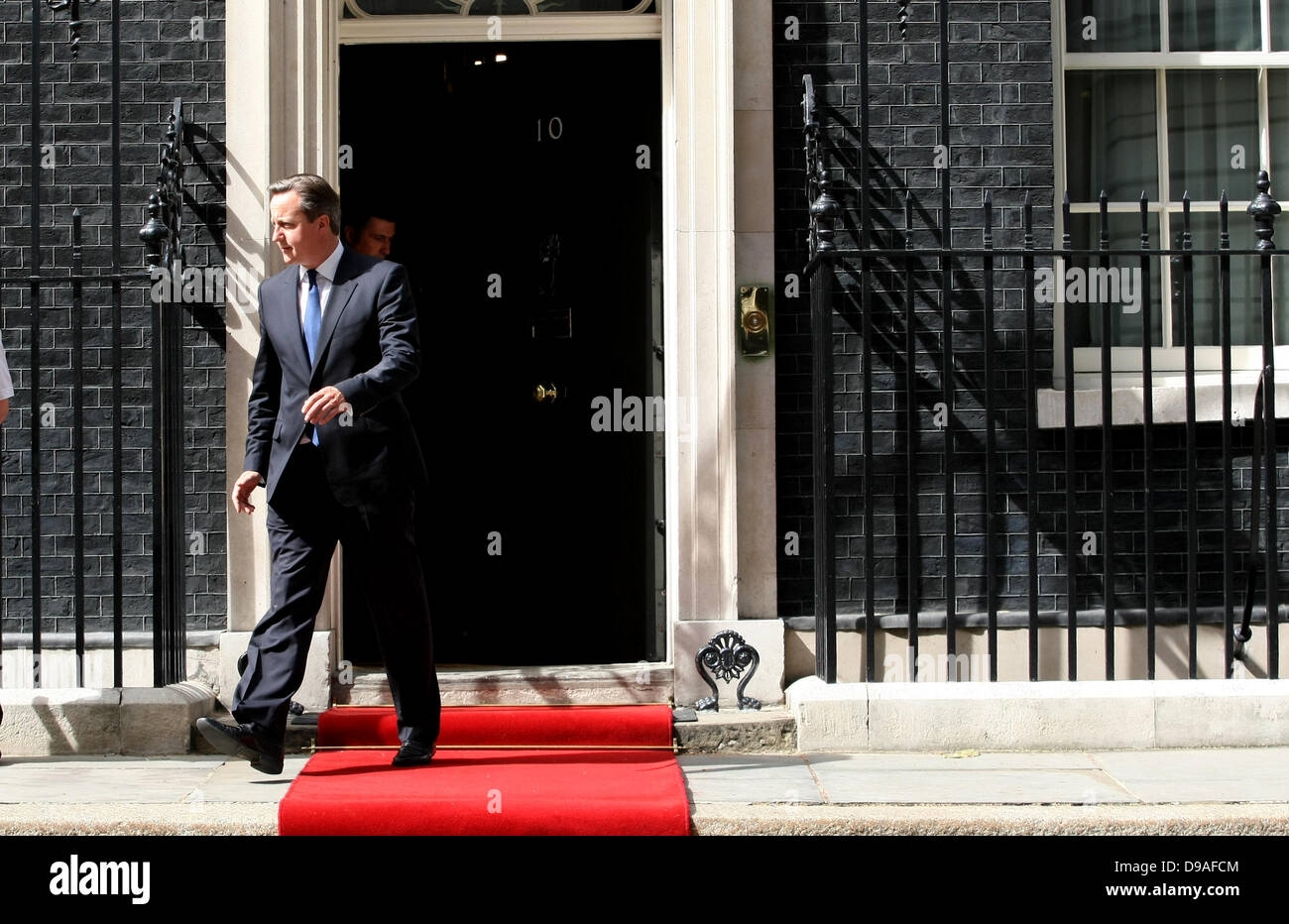 DAVID CAMERON BRITISH PRIME MINISTER GOES TO 16 June 2013 10 DOWNING STREET  LONDON ENGLAND Stock Photo